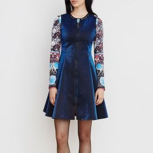 Blue and Black Lurex Zipup Scuba Dress